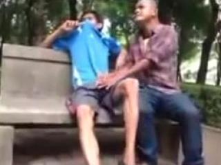 Wild jock gets a handjob in public