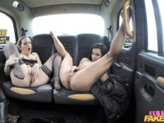 Two Hot Brunettes And A Sexy Dildo