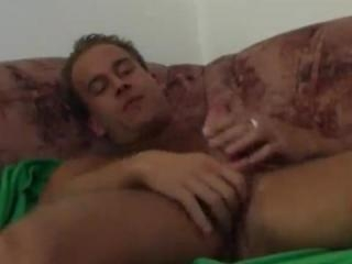 Beefy boyfriend playing with his dick